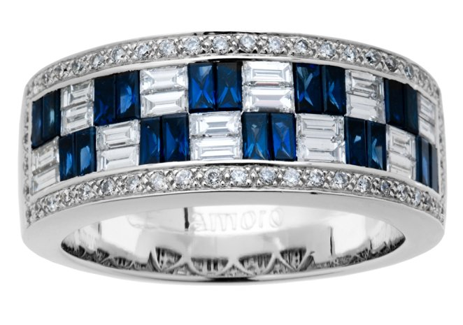 Amoro 18kt White Gold Exquisite Sapphire and Diamond Ring (0.85 cttw, H-I Color, SI1-SI2 Clarity)