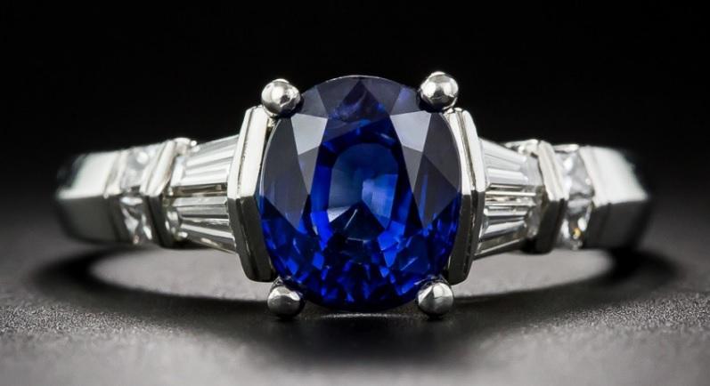 2.85 Carat Sapphire and Diamond Platinum Ring