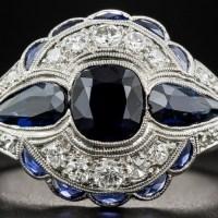 A Gorgeous Art Deco 1.75 Carat Sapphire and Diamond Ring