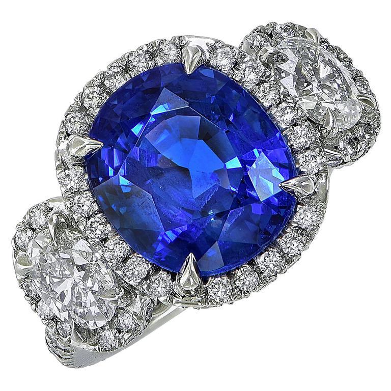 7.51 Carat Ceylon AGL Sapphire Diamond Ring