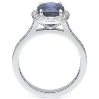 A Gorgeous Vintage Blue Sapphire Engagement Ring Oval Sapphire With Diamonds In Platinum