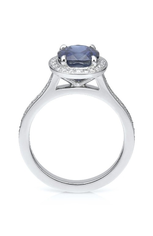Vintage Blue Sapphire Engagement Ring Oval sapphire with diamonds in platinum