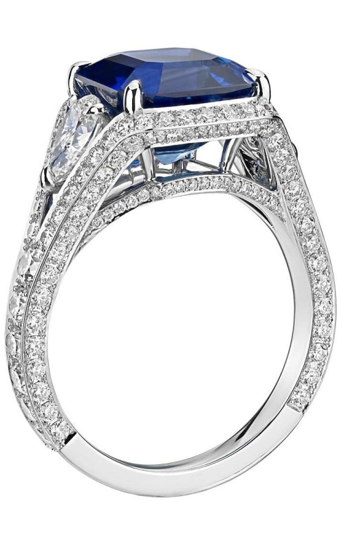 Emerald-Cut Sapphire and Diamond Halo Ring