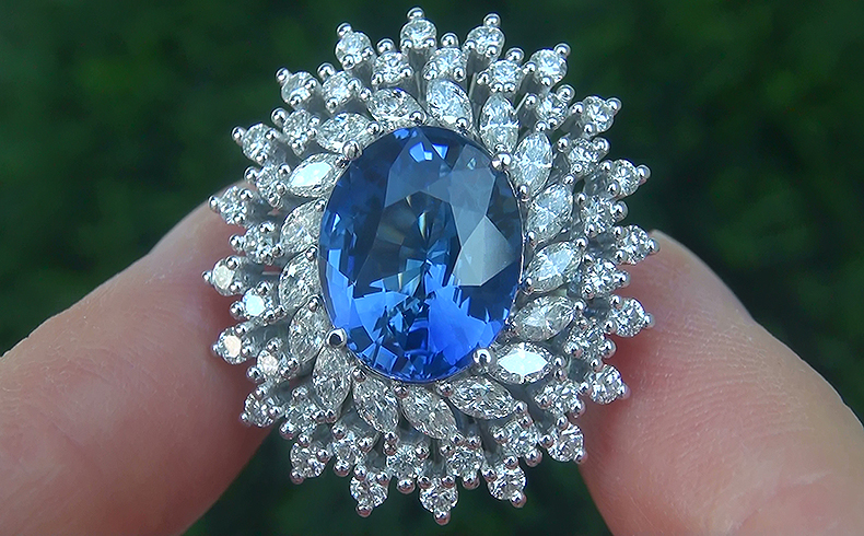 GIA 10.58 ct Natural VVS1 Blue Sapphire Diamond 18k White Gold Engagement Ring