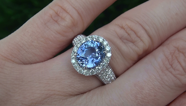 GIA 4.14 ct UNHEATED VVS Violet Blue Sapphire Diamond 14k White Gold Estate Ring