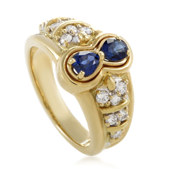 Estate Graff Women's 18K Yellow Gold Diamond & Sapphire Ring