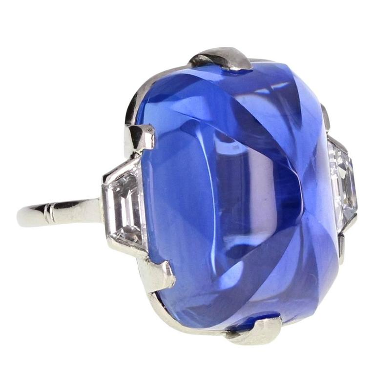 Art Deco Sugarloaf Ceylon Sapphire Diamond Platinum Ring
