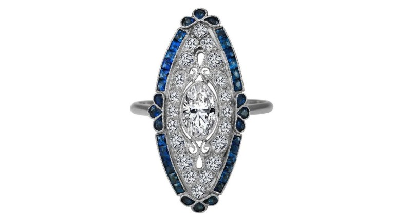 Art-Deco Oval Diamond Engagement Ring Blue Sapphire Halo in 14K White Gold