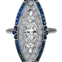 A Spectacular Art-Deco Oval Diamond Engagement Ring Blue Sapphire Halo in 14K White Gold