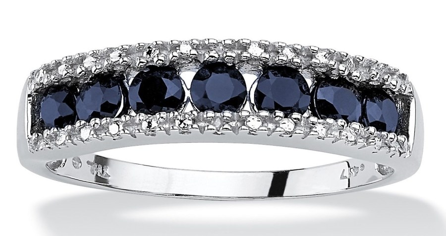 PalmBeach Jewelry 1.05 TCW Genuine Sapphire Diamond Accent 10k White Gold Ring