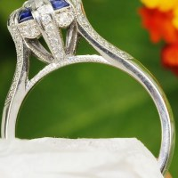 Simply Tacori Certified Round Diamond Engagement Ring with Sapphires 18K 1.69 cwt