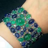A Gorgeous Cabochon Emerald and Sapphire Bracelet