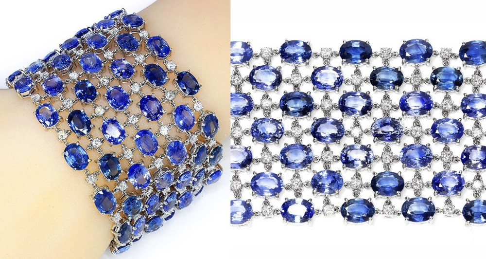 "Unique Sapphire Mesh Bracelet with Diamonds in 18k White Gold 120.00 cwt 7.5"" x 1.75"""