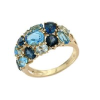 Blooming with Blue Topaz Gold Ring