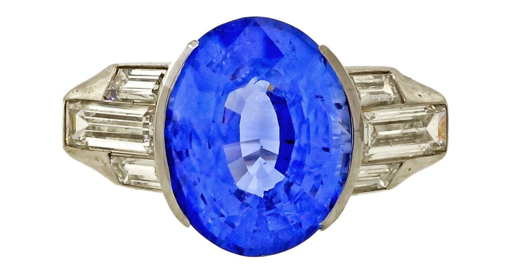 Vintage 1940 Certified Oval Ceylon Cornflower Blue 6.02ct Platinum Diamond Ring