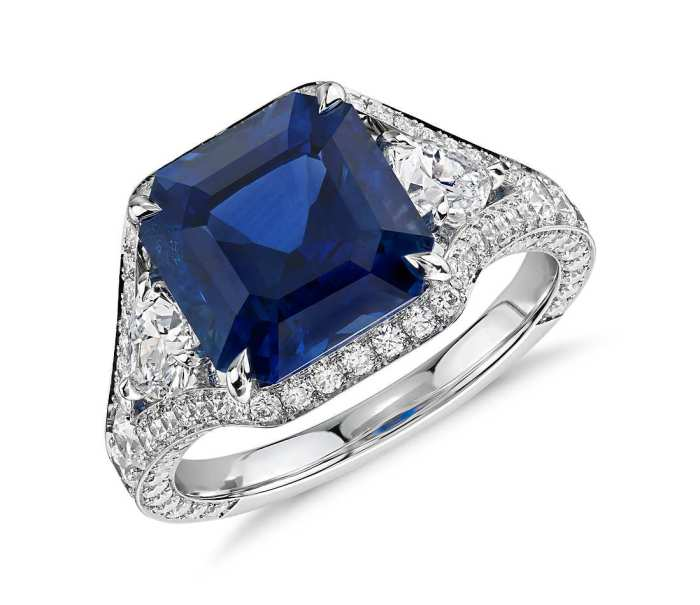 Emerald-Cut Sapphire and Diamond Halo Ring in 18k White Gold (5.10 ct. tw. center)