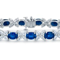 A Spectacular Sapphire and Marquise Diamond Bracelet in 18k White Gold