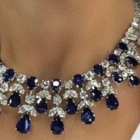 A Gorgeous Sapphire And Diamond Necklace and Ring