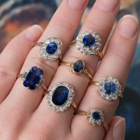 A Spectacular Grouping of Sapphire and Diamond Rings