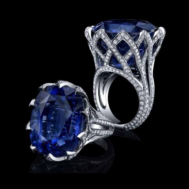 Robert Procop 63.27-ct. cushion blue sapphire ring