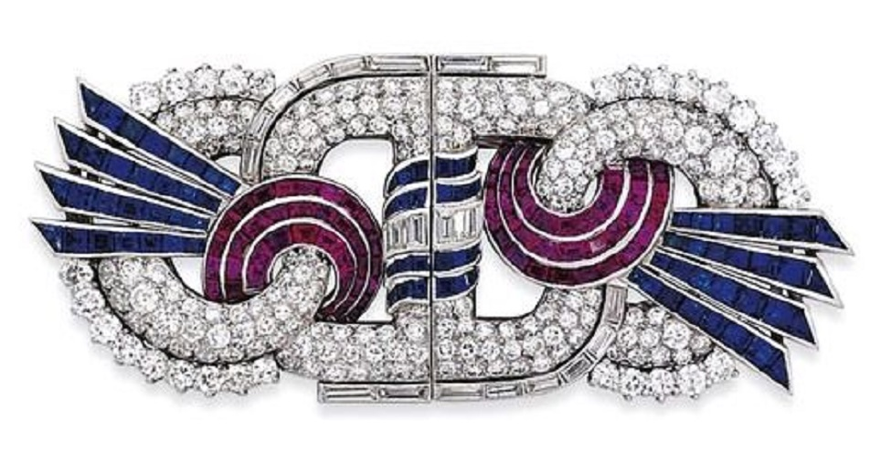 Art Deco Ruby, Sapphire, and Diamond Double Clip Brooch of Stylized Figure Eight circa 1935