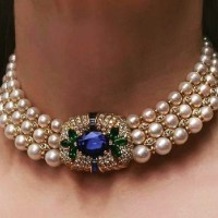 Gorgeous Sapphire, Emerald, Diamond and Pearl Choker Necklace