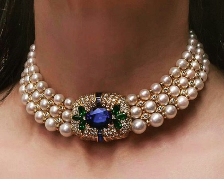 Sapphire, Emerald, Diamond and Pearl Choker Necklace