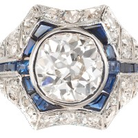 Vintage 1.65CT Old European Diamond Sapphire 18K with Platinum Top Art Deco Ring