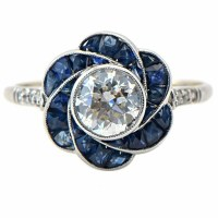 1930s Sapphire and Antique Euro Diamond Ring