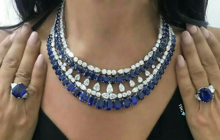 Sapphire and Diamond Necklace and Rings