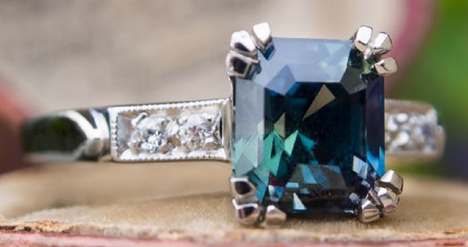 Emerald Cut Blue Green Sapphire Ring in Platinum 1940's Mounting