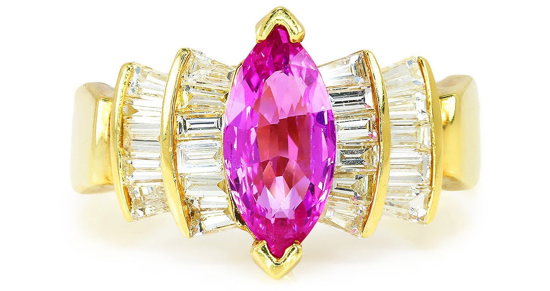 Certified Marquise Pink Sapphire Ring with Diamonds 18K Yellow Gold 2.10ctw