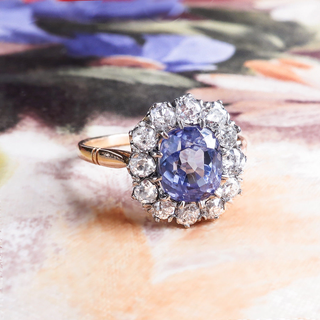 2.11 Carat Lavender Sapphire and .70 Carats Old Mine Cut Diamond Halo Ring 18k Platinum