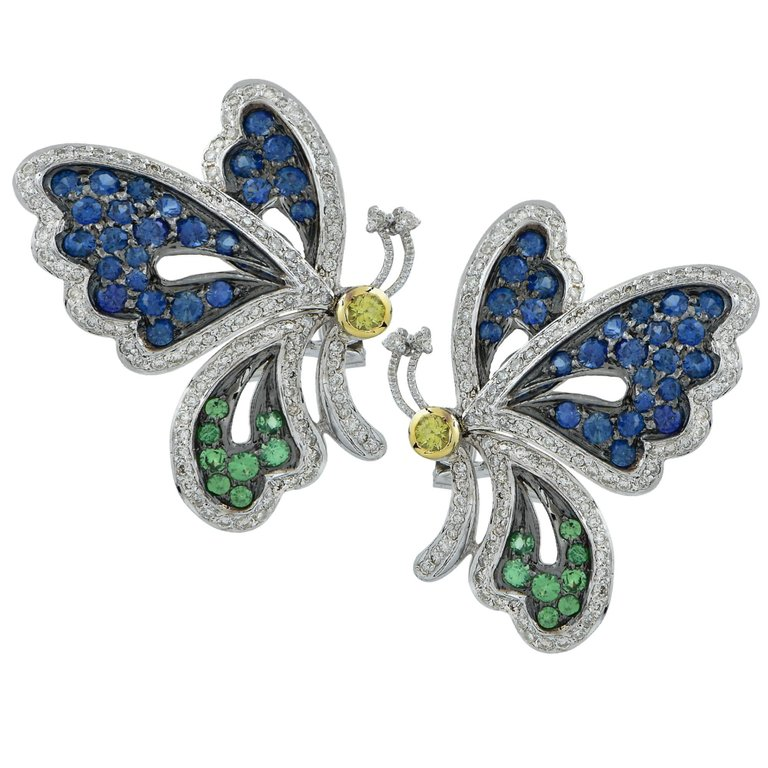 2.2 Carat Sapphire and Diamond Butterfly Earrings $2,205