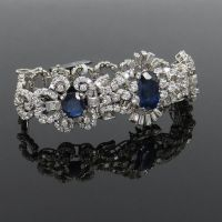 Vintage 14.23ct Natural Sapphire and 6.50ct Diamond Platinum Cluster Bracelet
