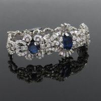 Vintage 14.23ct Natural Sapphire and 6.50ct Diamond Platinum Cluster Bracelet