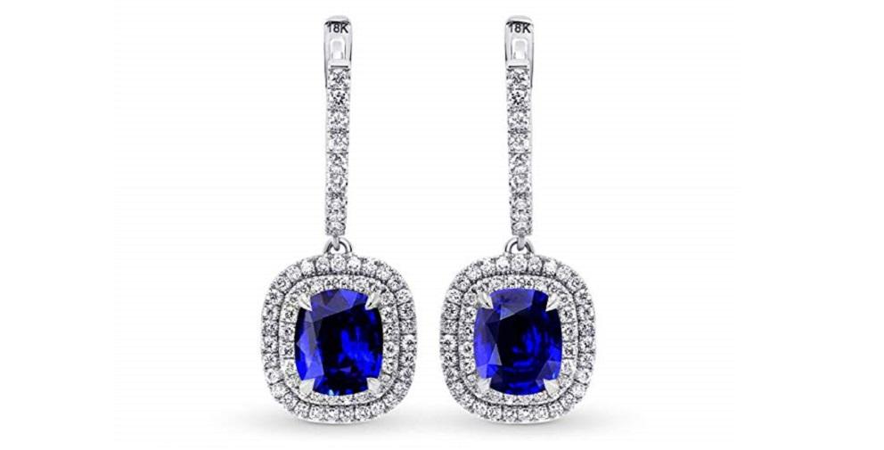 6.81Cts Sapphire Gemstone Earrings Set in 18K White Gold