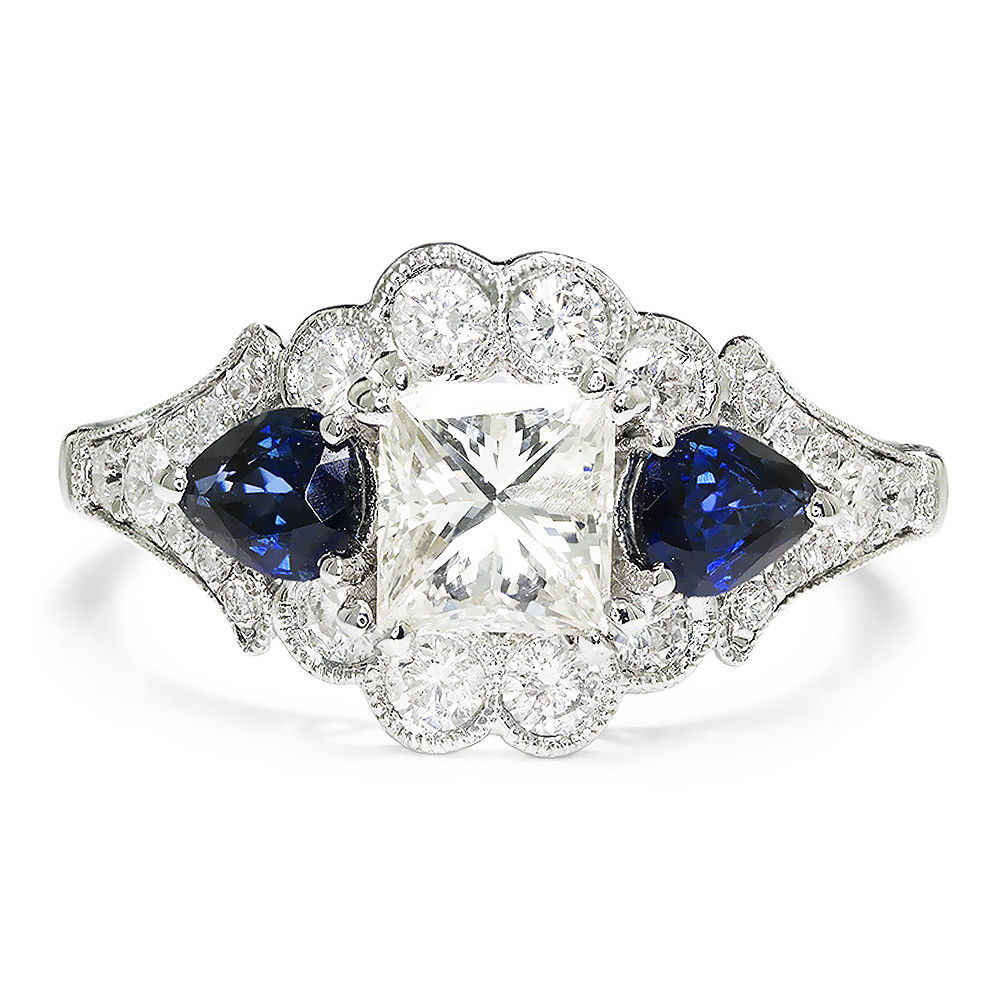 Gabriel&Co Princess Diamond 3 Stone Engagement Ring with Sapphires 18K White Gold 2.43ctw