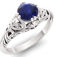 Diamondere Natural and Certified Sapphire Engagement Ring in 14K White Gold