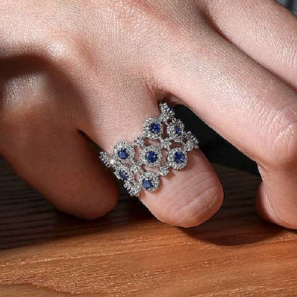 14k White Gold Wide Band Sapphire & Diamond Ladies Ring by Gabriel & Co.