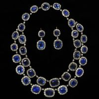 An Exquisite 19th Century Diamond and Sapphire Necklace and Earrings from the Victoria & Albert Museum