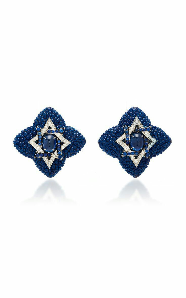 Fabio Salini Cabochon Sapphire And Leather Earrings