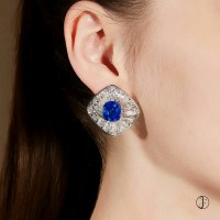 Gorgeous Kashmir Sapphire and Diamond Earrings