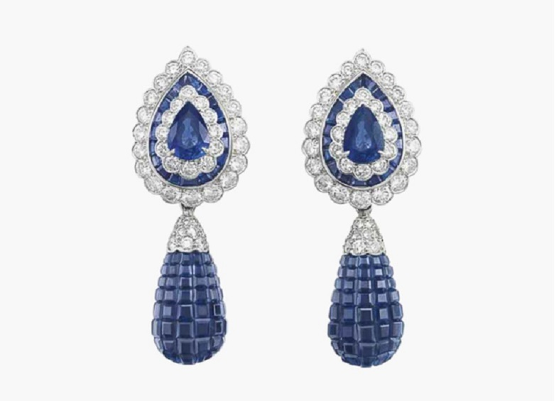 A pair of mystery-set sapphire and diamond ear pendants, by Van Cleef & Arpels.
