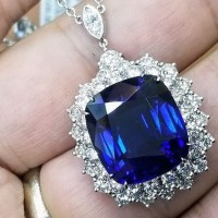 Gorgeous Platinum Tiffany & Co Natural Blue Sapphire Necklace 21 Carat