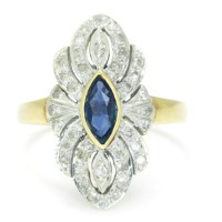 Vintage Marquise Sapphire Ring with Diamonds 14K Two Tone Gold .35ctw