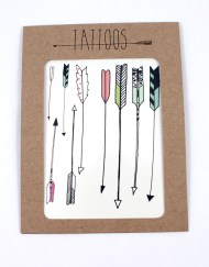 Pack of temporary tattoos, arrow themed
