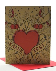 Tattoo style thank you card with swallows and hearts
