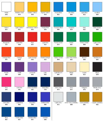 Oracal vinyl colors for graphics. Series 651 (outdoor service life: 4-5 years). Colores de vinilos Oracal para los grafismos. Serie 651 (vida útil a la intemperie: 4-5 años).