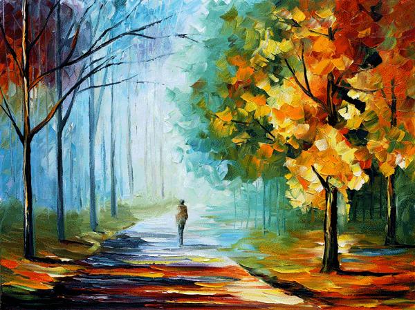 "Quadro ""Alone in the fog"" do pintor bielorrusso Leonid Afremov (2014)"
